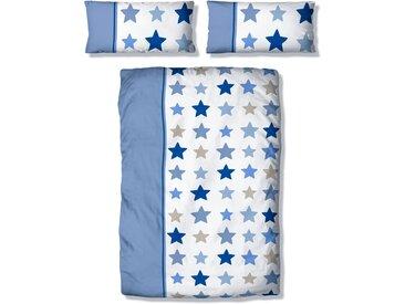 Kinderbettwäsche »Tilly«, Lüttenhütt, mit breitem Streifen und Sternen, blau