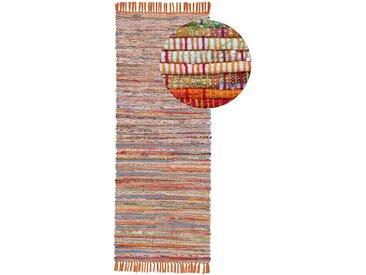 Läufer »Kelim Chindi«, carpetfine, rechteckig, Höhe 6 mm, Wolle und Fransen, orange, 80 cm x 400 cm x 6 mm
