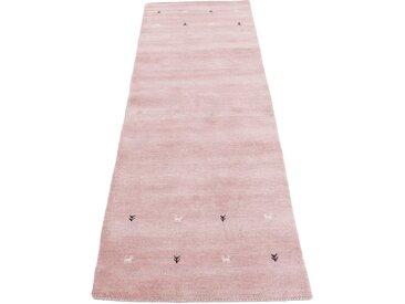 Läufer »Gabbeh Uni«, carpetfine, rechteckig, Höhe 15 mm, reine Wolle, handgewebt, Gabbeh Tiermotiv, Wohnzimmer, rosa, 75 cm x 240 cm x 15 mm