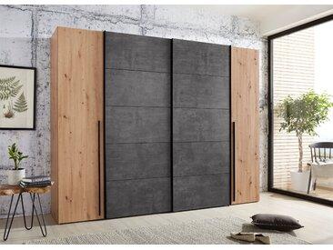 FORTE Dreh-/Schrank mit Schwebetüren mit zahlreichen Einlegeböden, braun