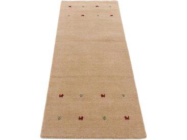 Läufer »Gabbeh Uni«, carpetfine, rechteckig, Höhe 15 mm, reine Wolle, handgewebt, Gabbeh Tiermotiv, Wohnzimmer, beige, 80 cm x 350 cm x 15 mm