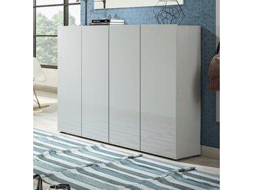 KITALY Schuhschrank »Mister« Breite 160 cm, 4 Türen, Hochglanz Lackierung, grau