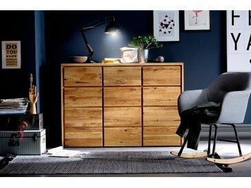 Home affaire Kommode »Zetra«, aus massivem Wildeichen Holz, mit Soft-Close-Funktion für die Schubladen, beige