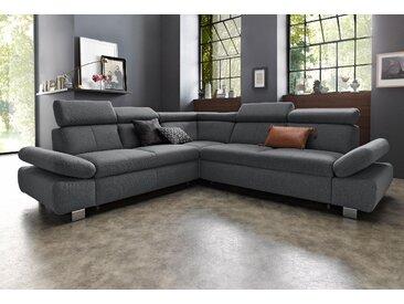 exxpo - sofa fashion Ecksofa, inklusive Rückenverstellung und Armteilverstellung, wahlweise mit Bettfunktion, grau, Struktur