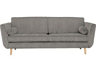 furninova 2,5-Sitzer, inkl. 2 Kissenrollen, grau, Luxus-Microfaser weich