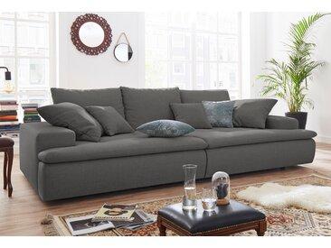 Nova Via Big-Sofa, wahlweise mit Kaltschaum (140kg Belastung/Sitz) und RGB-LED-Beleuchtung, grau, Struktur fein