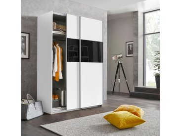 Wimex Schwebetürenschränke »Bramfeld« mit Glaselementen und zusätzlichen Einlegeböden, weiß, 135 cm x 198 cm x 64 cm