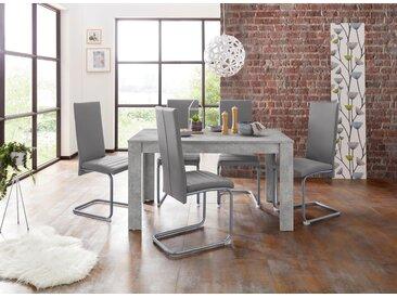 Homexperts Essgruppe »Nitro«, (Set, 7-tlg), Tisch - Breite 140 cm + 6 Stühle, grau