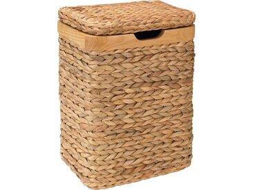 Home affaire Wäschebox, mit natur Holzrahmen, beige, 35 cm x 50 cm x 25 cm