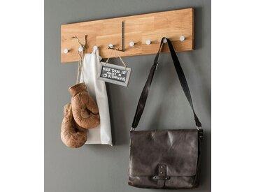 Home affaire Garderobenleiste »Dura«, aus schönem massivem Wildeichenholz, Breite 50 cm, beige, 80 cm x 22 cm x 4,6 cm