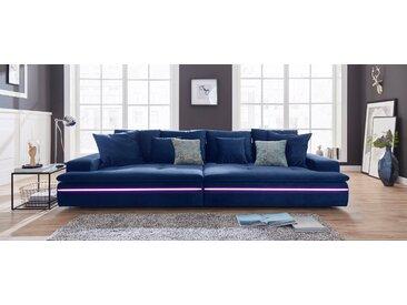 Nova Via Big-Sofa, wahlweise mit Kaltschaum (140kg Belastung/Sitz) und RGB-LED-Beleuchtung, blau, Samtstoff