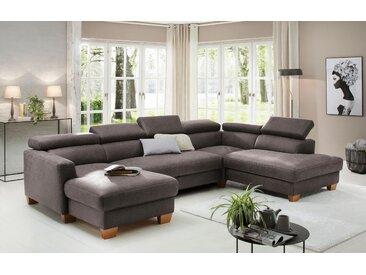 Home affaire Wohnlandschaft »Steve Luxus«, mit besonders hochwertiger Polsterung für bis zu 140 kg pro Sitzfläche, grau, Luxus-Microfaser Lederoptik