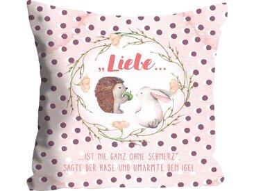 Kissenhülle »Liebe«, queence (1 Stück), mit einem Hasen und Igel, rosa