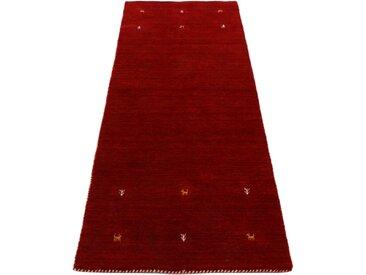 Läufer »Gabbeh Uni«, carpetfine, rechteckig, Höhe 15 mm, reine Wolle, handgewebt, Gabbeh Tiermotiv, Wohnzimmer, rot, 80 cm x 350 cm x 15 mm