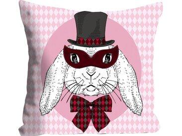 Kissenhülle »Bunny Holmes«, queence (1 Stück), mit einem Detektiv Hasen, rosa
