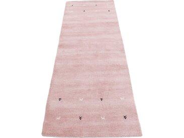 Läufer »Gabbeh Uni«, carpetfine, rechteckig, Höhe 15 mm, reine Wolle, handgewebt, Gabbeh Tiermotiv, Wohnzimmer, rosa, 80 cm x 400 cm x 15 mm