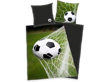 Wendebettwäsche »Fußball«, Herding, mit Ball im Netz, grün