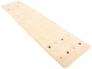 Läufer »Gabbeh Uni«, carpetfine, rechteckig, Höhe 15 mm, reine Wolle, handgewebt, Gabbeh Tiermotiv, Wohnzimmer, weiß, 80 cm x 400 cm x 15 mm