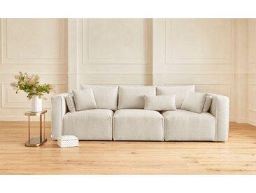 Guido Maria Kretschmer Home&Living 3-Sitzer-Sofa »Comfine«, zusammengesetzt aus Modulen, in 3 Bezugsqualitäten und vielen Farben möglich, beige, Fellimitat