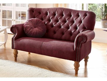 Home affaire 2-Sitzer »Lord«, mit echter Chesterfield-Knopfheftung und Ziernägeln, rot, Luxus-Microfaser Lederoptik