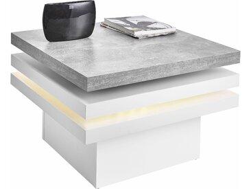 RAUM.ID Couchtisch, mit Funktion, drehbare Tischplatte, mit LED-Beleuchtung, weiß