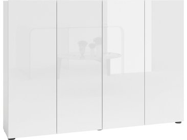 KITALY Schuhschrank »Mister« Breite 160 cm, 4 Türen, Hochglanz Lackierung, weiß