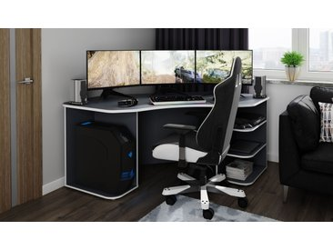 """Homexperts Gamingtisch »Tron«, passend für drei 28"""" Monitore, grau"""