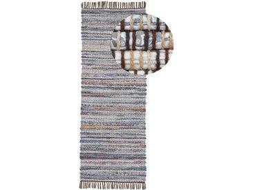 Läufer »Kelim Chindi«, carpetfine, rechteckig, Höhe 6 mm, Wolle und Fransen, grau, 75 cm x 240 cm x 6 mm