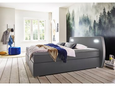 ATLANTIC home collection Boxspringbetten, inklusive LED-Beleuchtung und Topper, grau