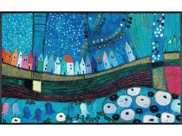 Fußmatte »Stadt in Blau«, wash+dry by Kleen-Tex, rechteckig, Höhe 7 mm, Fussabstreifer, Fussabtreter, Schmutzfangläufer, Schmutzfangmatte, Schmutzfangteppich, Schmutzmatte, Türmatte, Türvorleger, 40 cm x 60 cm x 7 mm