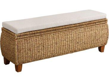 Home affaire Sitztruhe »Larkson«, aus Wasserhyazinthe, inklusive Sitzkissen, einem aufklappbaren Deckel und einem stoffbezogenen Innenfach