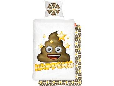 Kinderbettwäsche »Shit Happens«, mit Emoji, Neckermann, bunt