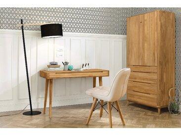 Home affaire Schreibtisch »Scandi«, aus massivem Eichenholz, mit vielen Stauraummöglichkeiten, Breite 110 cm, beige