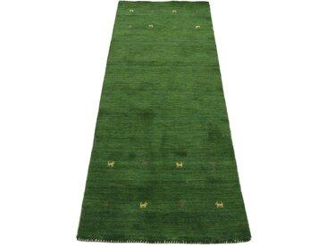 Läufer »Gabbeh Uni«, carpetfine, rechteckig, Höhe 15 mm, reine Wolle, handgewebt, Gabbeh Tiermotiv, Wohnzimmer, grün, 75 cm x 240 cm x 15 mm