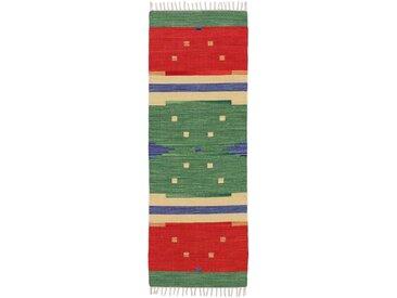 Läufer »Kelim Amar«, carpetfine, rechteckig, Höhe 5 mm, Wendeteppich, reine Baumwolle, mit Fransen, grün, 75 cm x 250 cm x 5 mm
