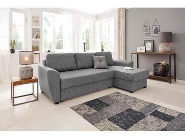 Home affaire Ecksofa »Quin«, mit Bettfunktion und Zierkissen, grau
