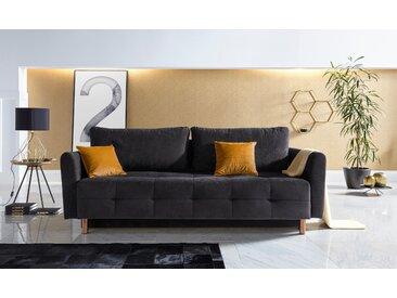 INOSIGN Schlafsofa »Nordic metallic«, mit Federkern und Metallbeinen, Steppung im Sitzbereich, schwarz, Microfaser PRIMABELLE®