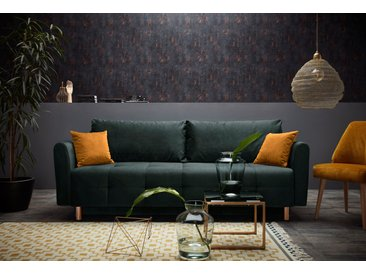 INOSIGN Schlafsofa »Nordic metallic«, mit Federkern und Metallbeinen, Steppung im Sitzbereich, grün, Samtvelours