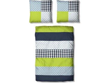 Kinderbettwäsche »Elli«, Lüttenhütt, mit verspieltem Streifen-Muster, grün