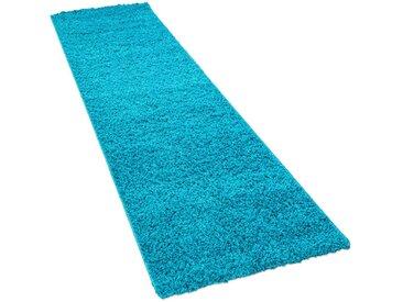 Läufer »Sky 250«, Paco Home, rechteckig, Höhe 35 mm, Teppich-Läufer, gewebt, einfarbiger Uni Hochflor Shaggy, blau, 70 cm x 250 cm x 35 mm