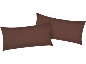 Kissenbezüge »Luisa«, my home (2 Stück), mit leichtem Glanzeffekt, braun, 80 cm x 40 cm