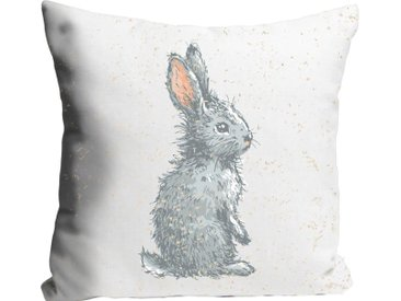 Kissenhülle »Corinne«, queence (1 Stück), mit einem Hasen im Schnee, grau