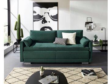 INOSIGN Schlafsofa »Alexander«, Boxspringfederung, incl. Bettfunktion und Bettkasten mit Komfort-Sitzhöhe, grün, Samtoptik
