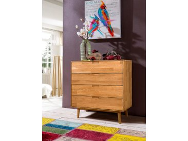 Home affaire Kommode »Scandi«, aus massivem Eichenholz und eingefrästen Griffmulden, Breite 80 cm, beige