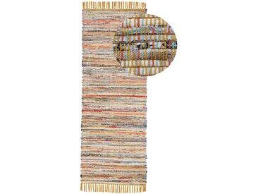 Läufer »Kelim Chindi«, carpetfine, rechteckig, Höhe 6 mm, Wolle und Fransen, gelb, 75 cm x 240 cm x 6 mm