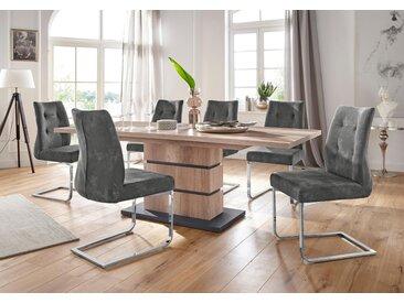 Homexperts Essgruppe »Bonnie«, Breite 140 cm mit Auszug und 4 Stühlen, grau