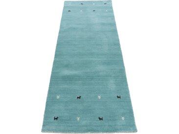 Läufer »Gabbeh Uni«, carpetfine, rechteckig, Höhe 15 mm, reine Wolle, handgewebt, Gabbeh Tiermotiv, Wohnzimmer, blau, 80 cm x 350 cm x 15 mm
