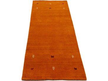 Läufer »Gabbeh Uni«, carpetfine, rechteckig, Höhe 15 mm, reine Wolle, handgewebt, Gabbeh Tiermotiv, Wohnzimmer, orange, 80 cm x 350 cm x 15 mm
