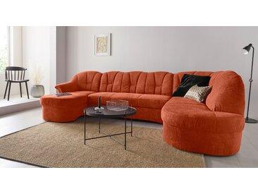 DOMO collection Wohnlandschaft, in großer Farbvielfalt, wahlweise mit Bettfunktion, orange, Chenilleoptik