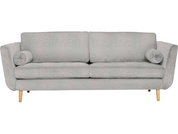 furninova 2,5-Sitzer, inkl. 2 Kissenrollen, grau, Struktur weich